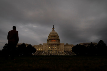 A man looks at the U.S. Capitol Building in Washington