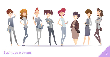 Business women character design collection. Professional females stand together.