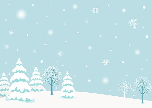 Snowy winter forest landscape background