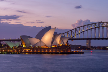 sydney opera house in sydney, australia at dusk