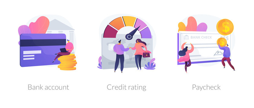Financial services cartoon icons set. Debit card payment. Money savings, loan and deposit. Bank account, credit rating, paycheck metaphors. Vector isolated concept metaphor illustrations