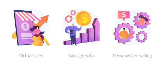 Marketing strategy planning web icons cartoon set. Commerce income analysis. Virtual sales, sales growth, personalized selling metaphors. Vector isolated concept metaphor illustrations