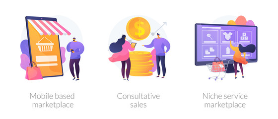 Wall Mural - Retail business cartoon icons set. Online shop smartphone app. Mobile based marketplace, consultative sales, niche service marketplace metaphors. Vector isolated concept metaphor illustrations