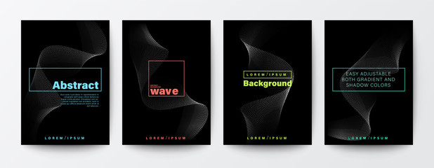 Set of abstract flow wave shape on black background for Brochure, Flyer, Poster, leaflet, Annual report, Book cover, Banner. Graphic Design Layout template, A4 size