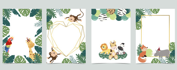 Wall Mural - Green collection of jungle frame set with leaf,leaves,parrot,monkey,balloon vector illustration for birthday invitation,postcard,logo and sticker