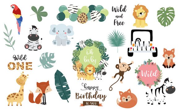Safari object set with fox,giraffe,zebra,lion,leaves,elephant. illustration for logo,sticker,postcard,birthday invitation.Editable element