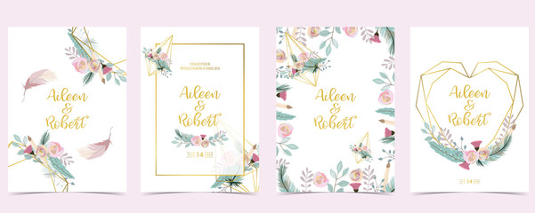 Wall Mural - Pink green gold geometry wedding invitation with rose,flower,heart and leaves.Vector birthday invitation for kid and baby.Editable element