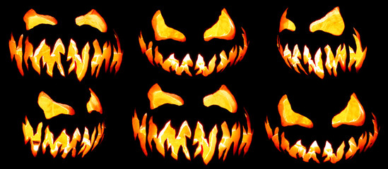 Collection of scary Halloween pumpkin Jack o lantern faces glowing red and yellow eerily on black
