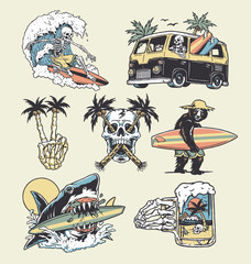 A set of edgy surf and beach illustrations. For t-shirts, stickers and other similar products.