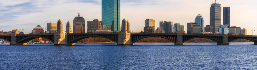Panorama over of The Longfellow Bridge over the charles river at the evening time which have traing running, USA downtown skyline, Architecture and building with transportation concept