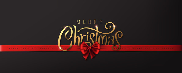 Fototapete - Calligraphic Merry christmas golden texture and realistic ribbon red luxury. Advertising Poster design.logo golden color on dark background.Vector illustration.