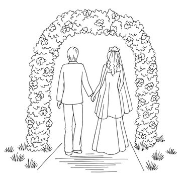 Wedding flower arch graphic black white landscape sketch illustration vector