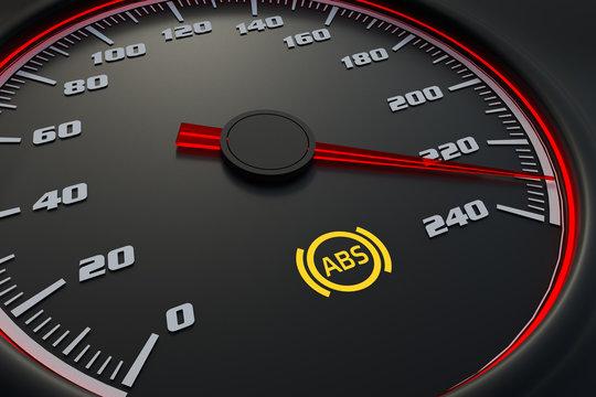 Anti-lock Brake System light on car dashboard