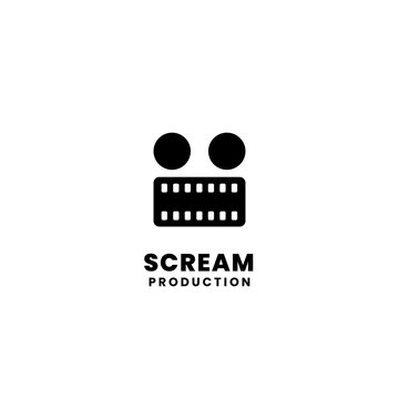 creepy monster face illustration. film strip symbol with two dot for movie production logo design