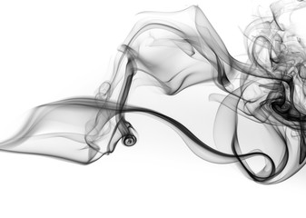 Wall Murals Smoke Black smoke abstract on white background, black ink water, fire design