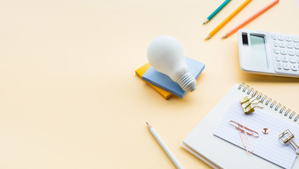 Ideas inspiration concepts with business accessories on pastel color background