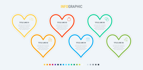 Infographic template. 6 hearts design with beautiful colors. Vector timeline elements for presentations.