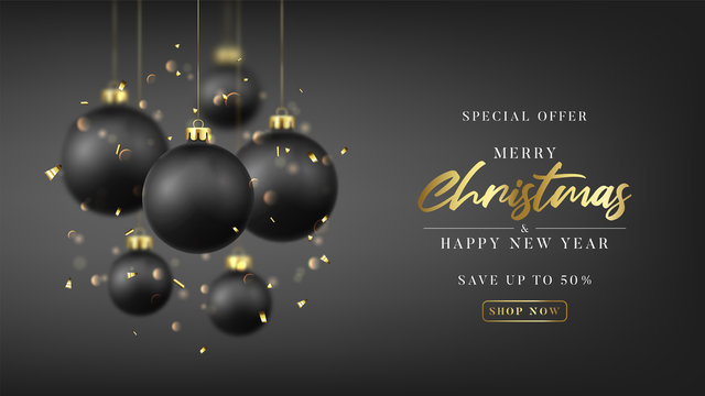 Christmas and New Year sale promo banner. Special discount offer. Holiday vector illustration with realistic black Christmas balls, confetti and bokeh with blur effect on black background.