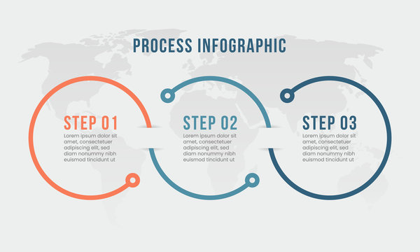 infographic process timeline for business. 3 point step. vector
