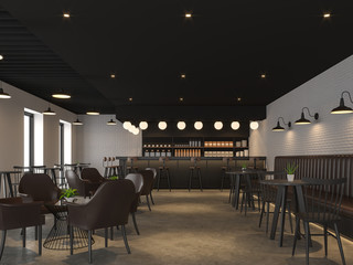 Industrial loft style coffee shop 3d render,There are concrete floors, white brick walls, black ceilings,  decorate with black wood and dark brown leather furniture.