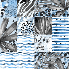 Hand painted water color palm leaves, stripes, animal print, doodles, grunge and watercolour textures geometric background