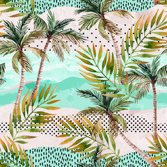 Photo sur Plexiglas Empreintes Graphiques Abstract summer beach background. Art illustration with watercolor palm trees, palm leaves, doodles and grunge textures