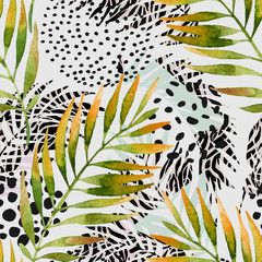 Watercolor palm leaves and geometric background: triangles, doodle, gradient texture, 80s 90s shapes, memphis elements, animal print stripes