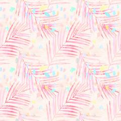 Tuinposter Aquarel Natuur Artistic watercolor palm leaves, pastel colored confetti seamless pattern