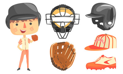 Cute Boy Baseball Player with Professional Equipment Vector Illustration