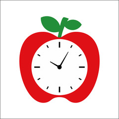 Clock Apple vector illustration design - Time circle alarm with apple designs tempalet
