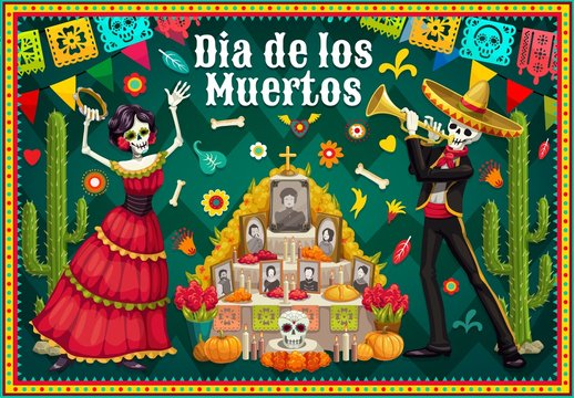Catrina and skeleton near Day of the Dead altar