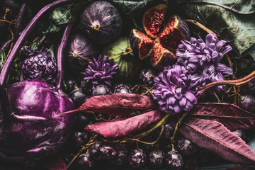 Background of purple food with fruits and vegetables, close up