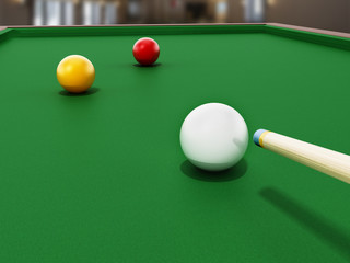 3 cushion billiards table and balls with pool cue. 3D illustration