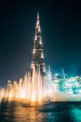 Printed roller blinds Dubai Beautiful night Dubai fountain view