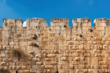 Jerusalem Old City fortress wall in Old City Jerusalem, Israel.