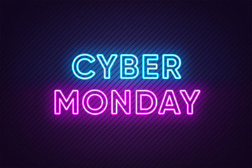 Neon Cyber Monday Banner. Text and Title of Cyber Monday