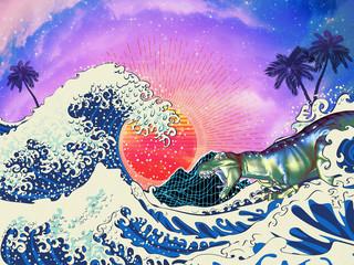 Trex surfing great wave