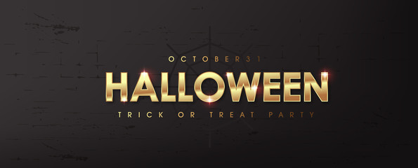 Fototapete - Happy Halloween text golden texture banners party invitation background.Vector illustration .