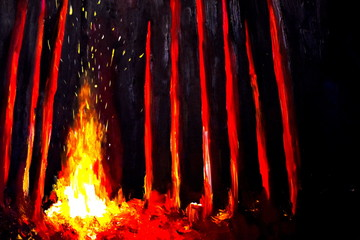 Bonfire in the night forest oil painting. Handmade painting.