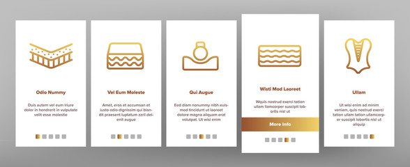 Latex Material Items Onboarding Mobile App Page Screen Vector Icons Set Thin Line. Matress And Washable Cover, Breathable And Memory Foam, Bedding And Pad Linear Pictograms. Contour Illustrations