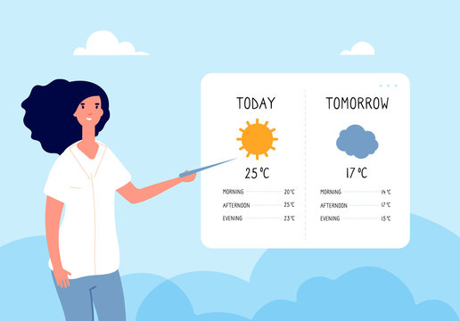 Weather forecast concept. Woman forecasting weather in tv news. Vector flat illustration. Forecast weather, meteorology and climate
