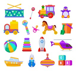 Kid toys. Drum and train, penguin and truck, ball and ship, helicopter and rattle, pacifier and cubes, rocket. Children toy vector set. Illustration kids toys, rocket, truck, ship and drum