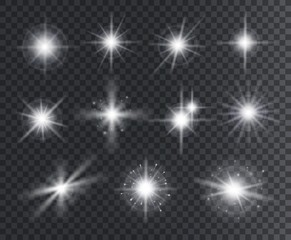 Light effect. White star sparks, bright flare with rays. Magic glowing dust particles. Christmas abstract elements isolated vector set. Illustration magic flare, sparkle vibrant christmas star