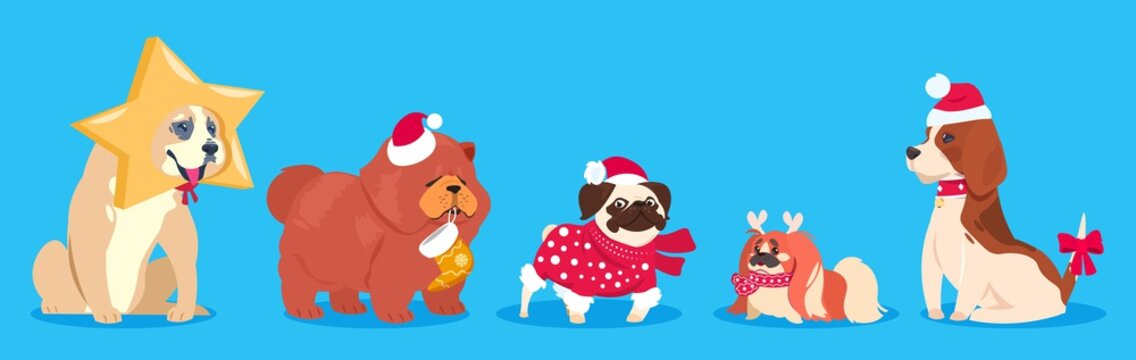 Christmas dogs. Winter vector animals. Cute cartoon dogs in santa hat, scarf with gifts. Holiday pets collection. Pet dog holiday christmas, celebration winter new year illustration