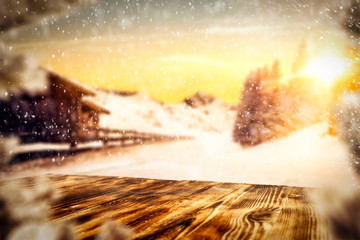 Photo sur Aluminium Jaune de seuffre Winter background of free space for your decoration and christmas time