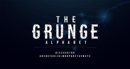 Horror scary movie alphabet font. Typography grunge design for halloween logo game fonts and number with strom strike lightning thunderbolt background. vector illustration