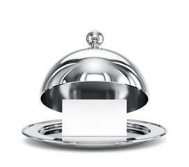 Open restaurant cloche with blank paper template isolated on white. Clipping path included