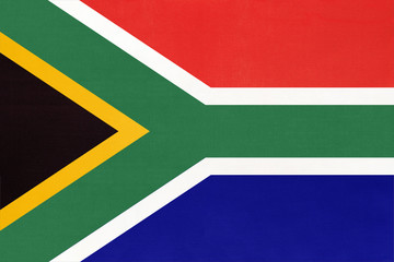 South Africa republic national fabric flag, textile background.