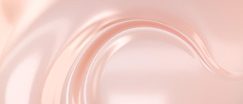 Liquid subtle pink background, cosmetic cream texture, fluid gentle surface. 3d illustration