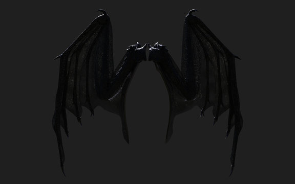 3d Illustration Dragon Wing, Devil Wings, Demon Wing Plumage Isolated on Black Background with Clipping Path.